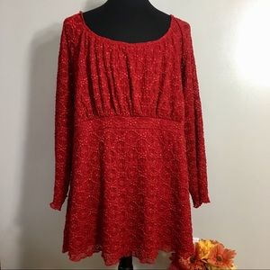 Avenue Red Lace Top 30/32